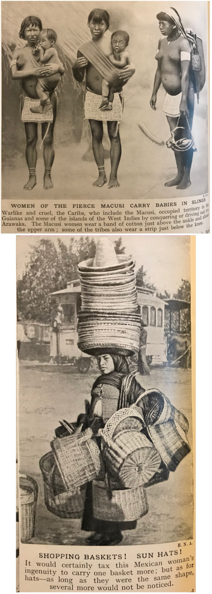 The Mexican woman is loaded with hats and baskets but she stands tall.  Women as seen from the Macusi tribe are probably now extinct.