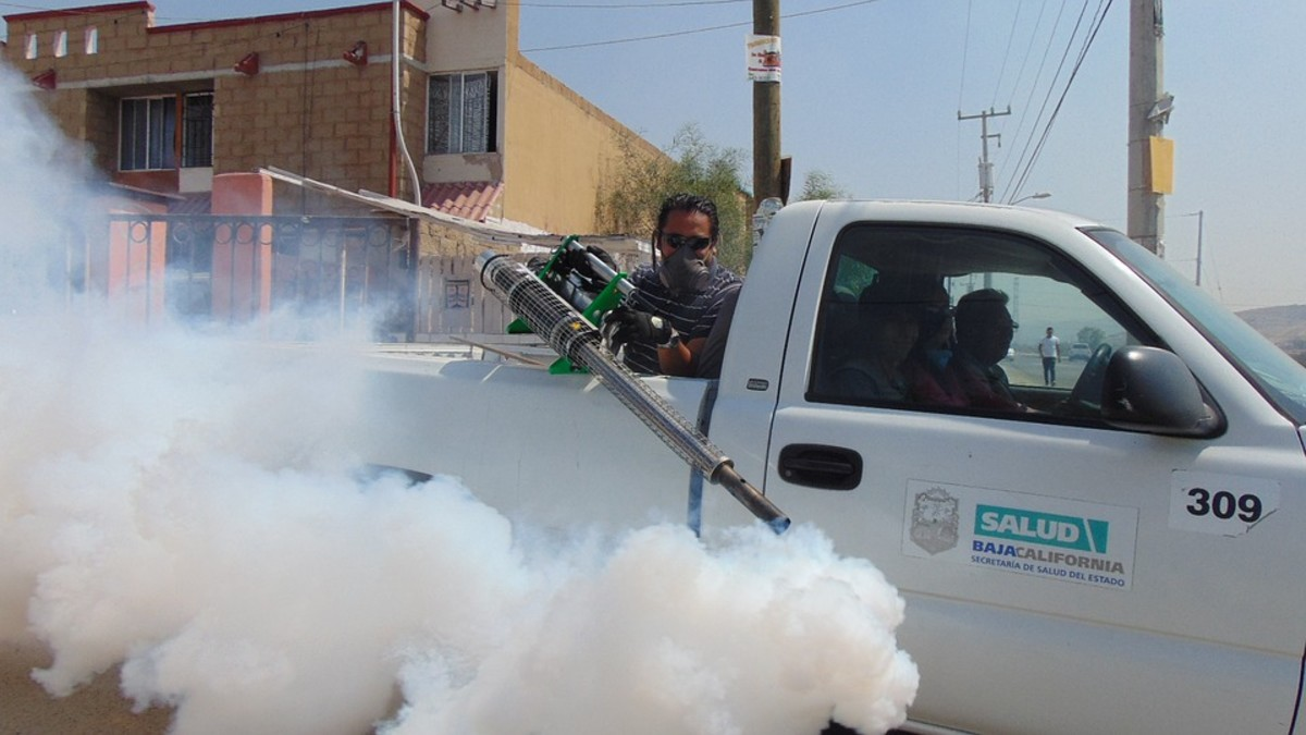 Fumigating open areas to eradicate vectors such as mosquitos