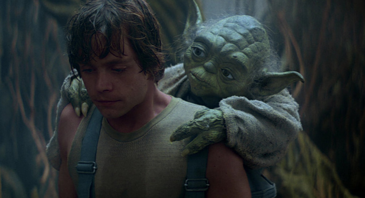 Luke and Yoda on Dagobah