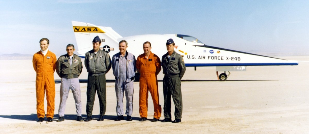 Third from left, in front of the X-24B, the prototype for the Space Shuttle.