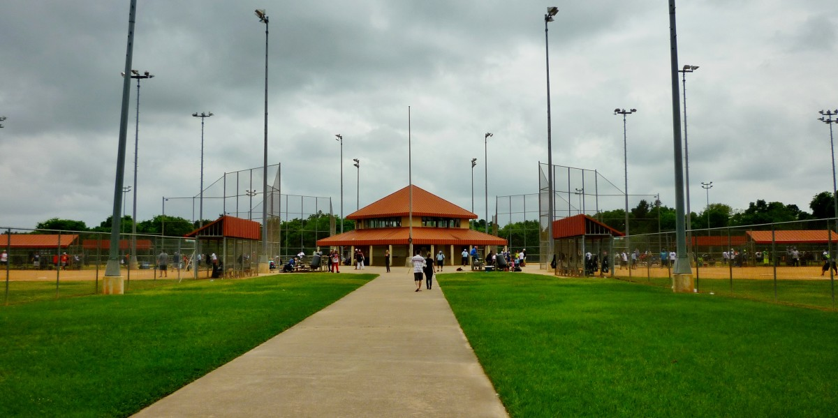 View of concession stand between baseball fields in Cullen Park