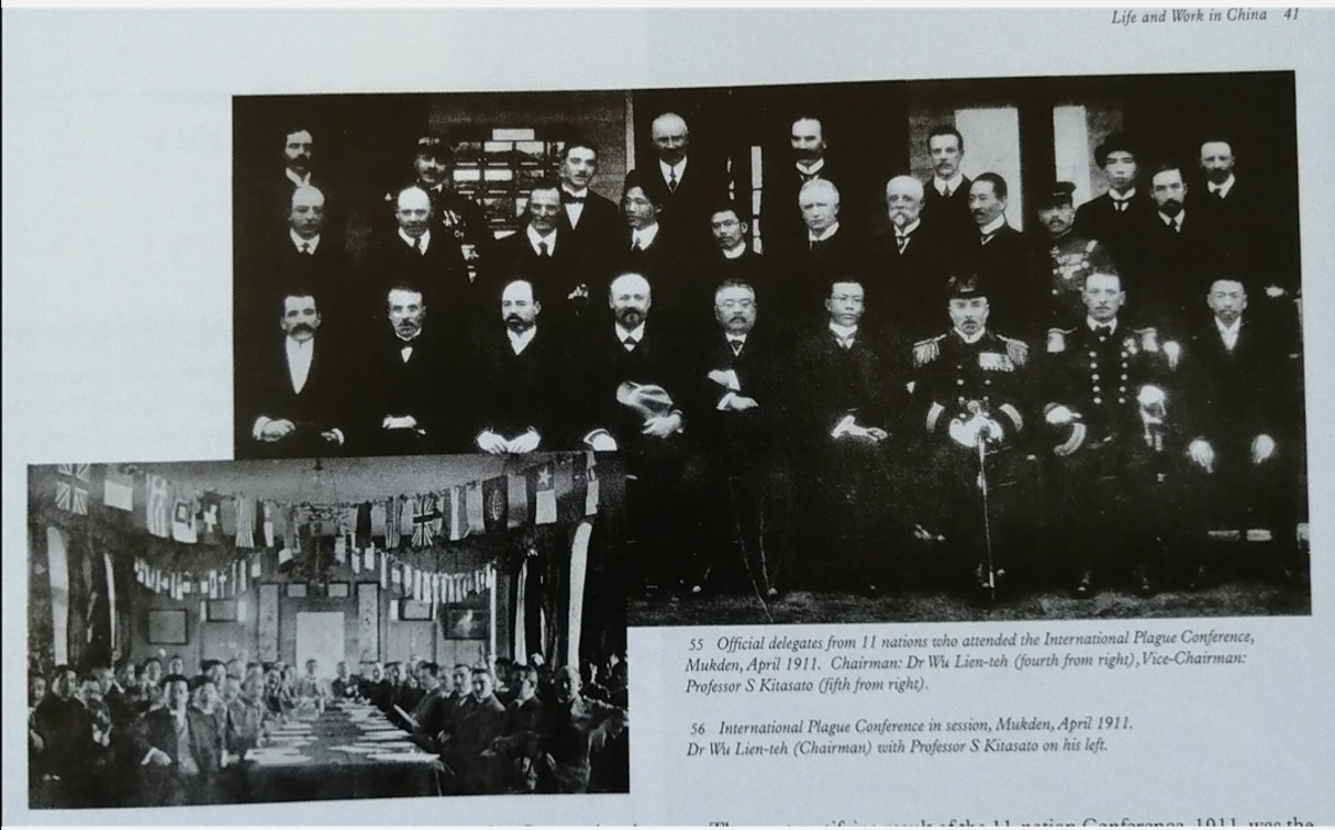 Official delegates from 11 nations attending the International Plague Conference, Mukden, Manchuria, April 1911. Dr Wu, Chairman, 4th from right.
