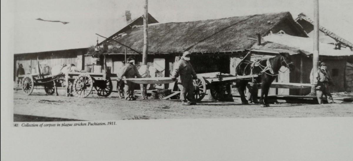 Collection of corpses, Fuchiatien, Manchuria, 1911