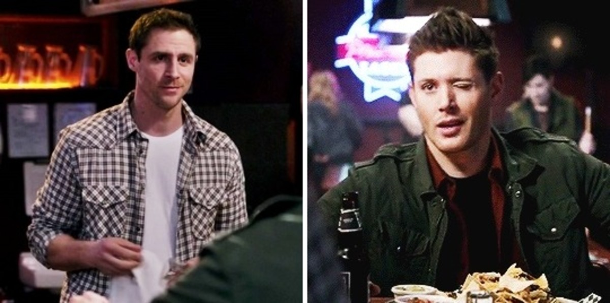 Dean Winchester winking at a male bartender, Supernatural, season 10 episode 17 'Inside Man'