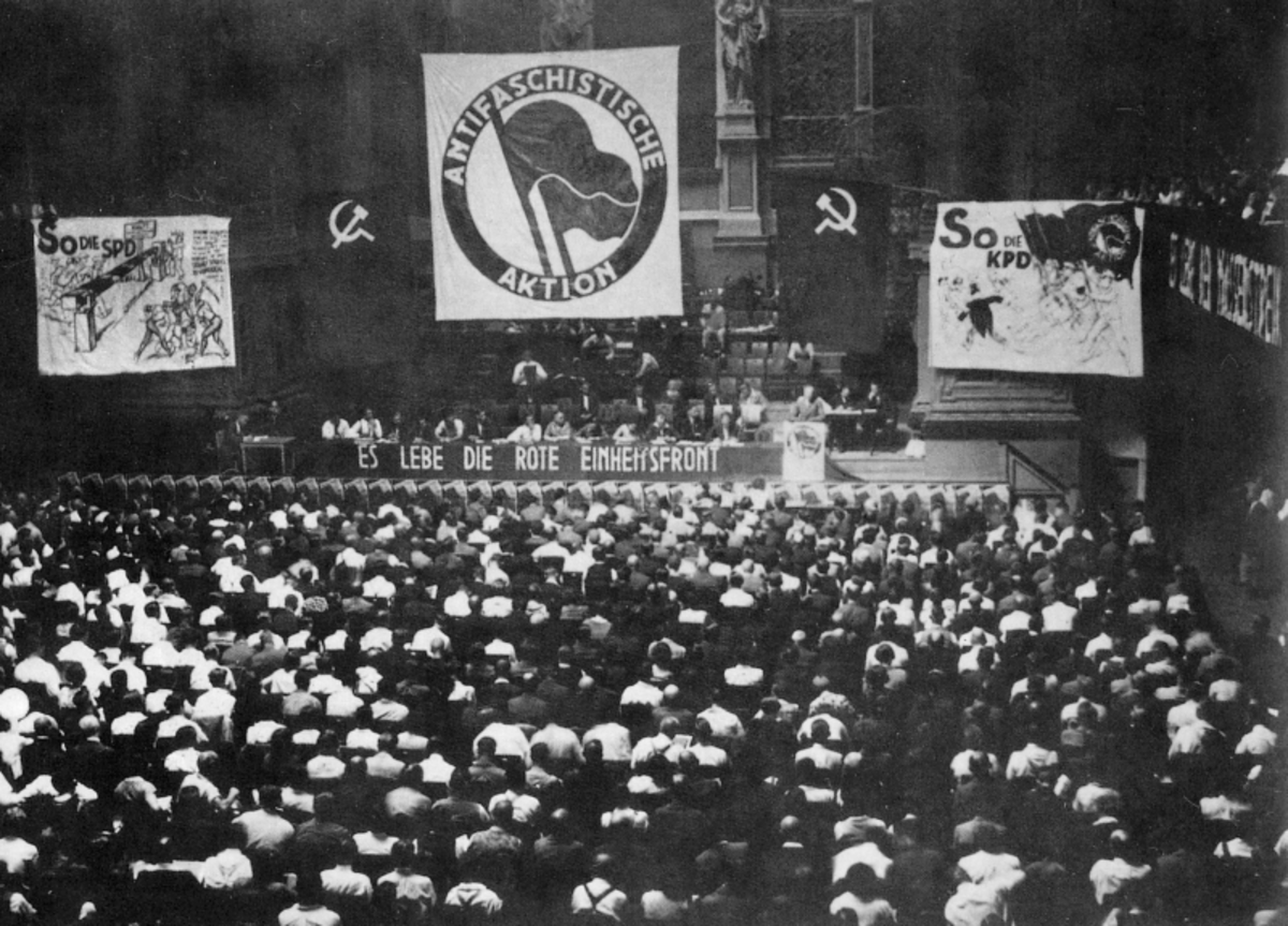 Meeting of the German Communist Party in 1931 featured the same logo Antifa uses today