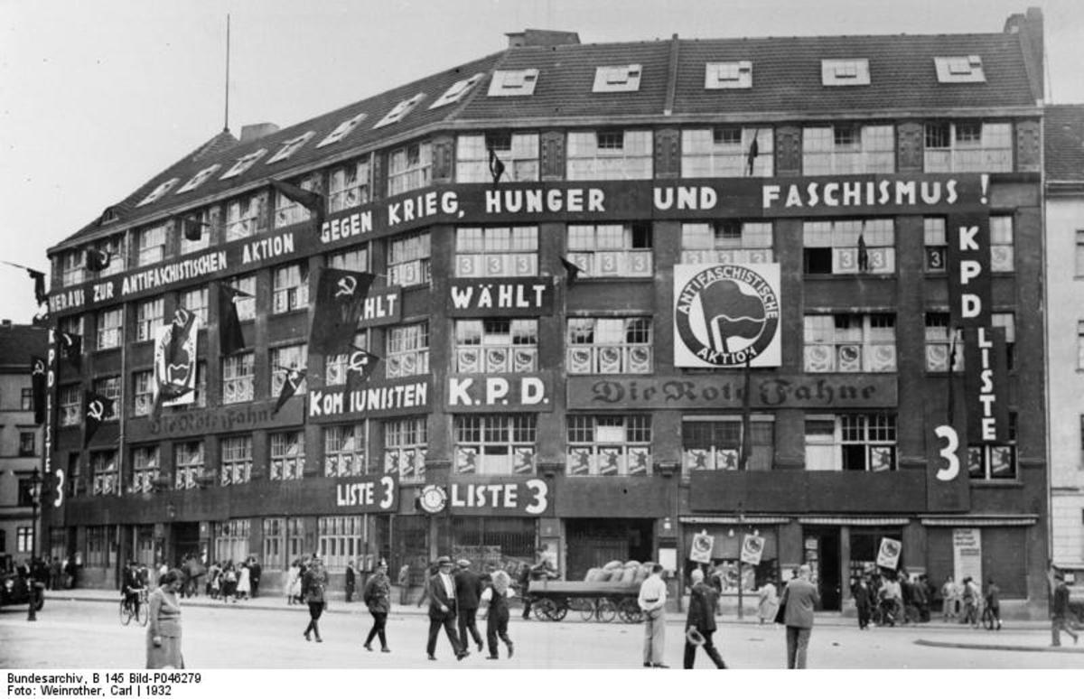 1932 photo of Antifa logo on the headquarters of the German Communist Party