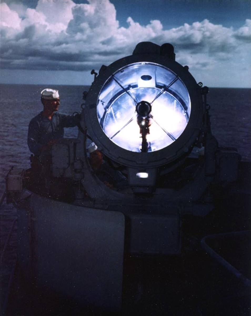 The searchlight of the USS Missouri.