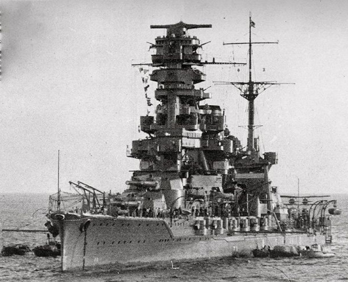The battleship Hyuga showing its Pagoda Mast.