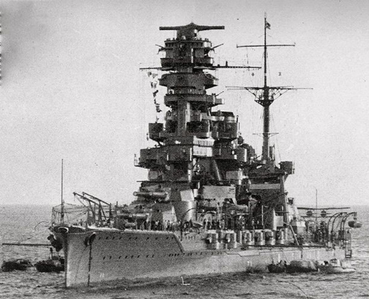 The battleship Hyuga showing its Pagoda Mast.
