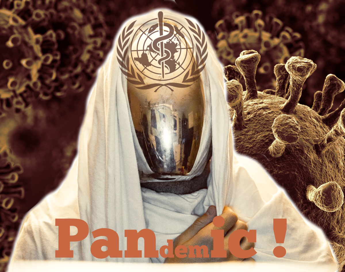 Figure 1. Pandemic-panic-phantom compiled by Robert Kernodle, using main-figure photo by Alex Iby, background electron-microscope photo by Murphy Medical Associates, and partial logo of the World Health Organization.