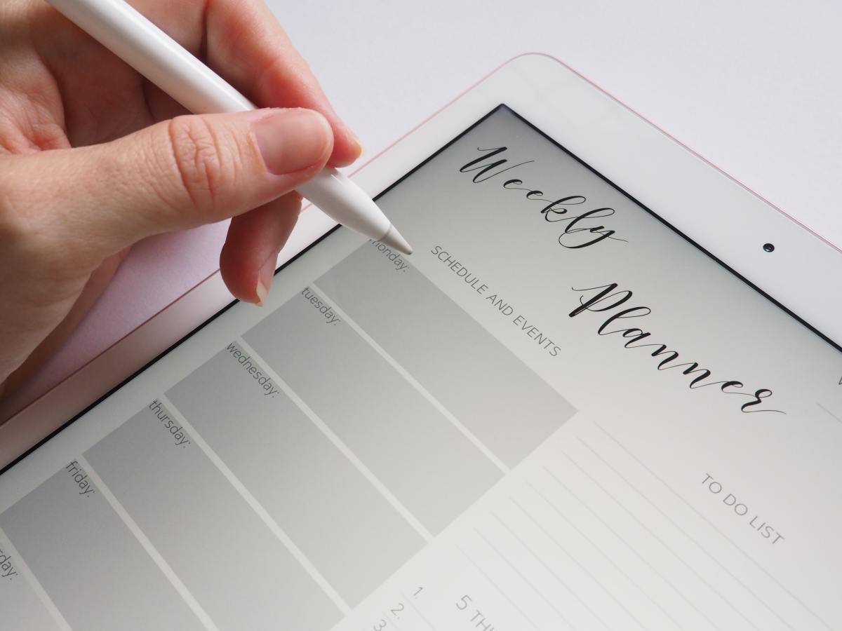 Use a weekly planner to keep track of your progress.