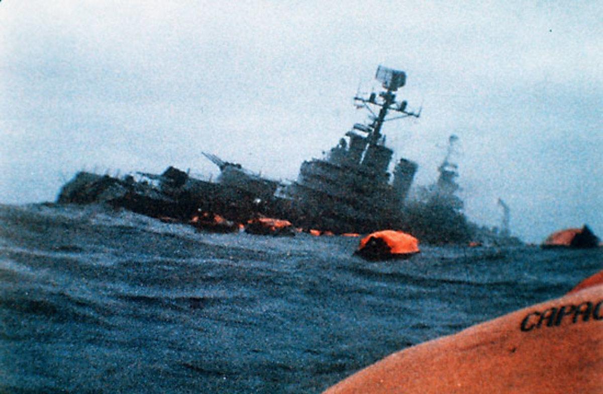 "Life rafts surround the sinking ""Belgrano"""