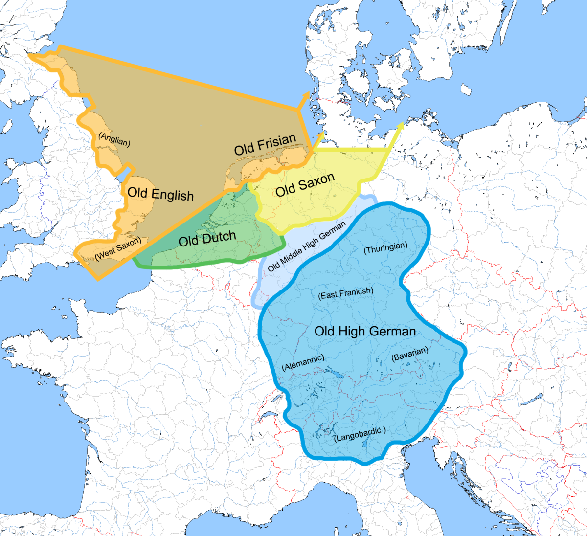 The West-Germanic languages around the 6th century CE.