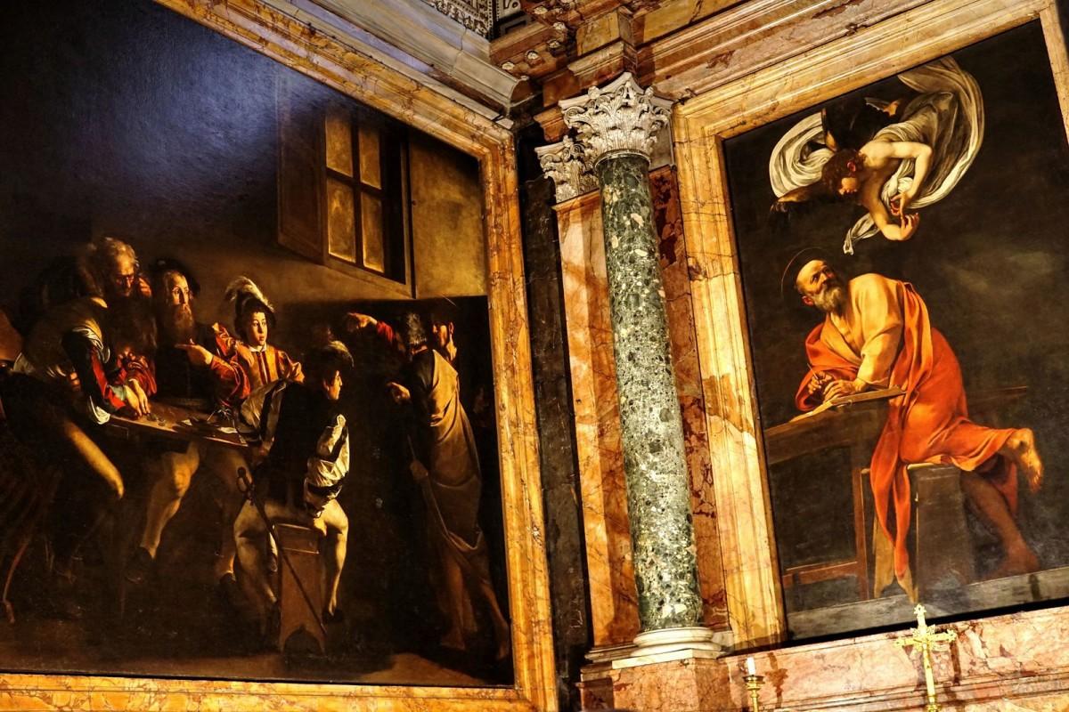 "Right: ""The Inspiration of Saint Matthew"" Left: ""The Calling of St Matthew"" By Michelangelo Merisi da Caravaggio"