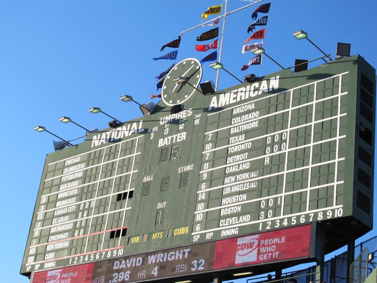 The scoreboard at Wrigley Field
