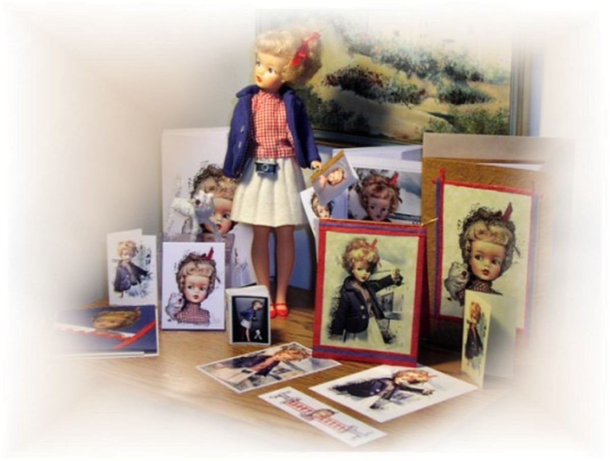 This is a restored Ideal Tammy Doll complete with a custom package of cards and ephemera hand made and photographed by Tonie Cook..