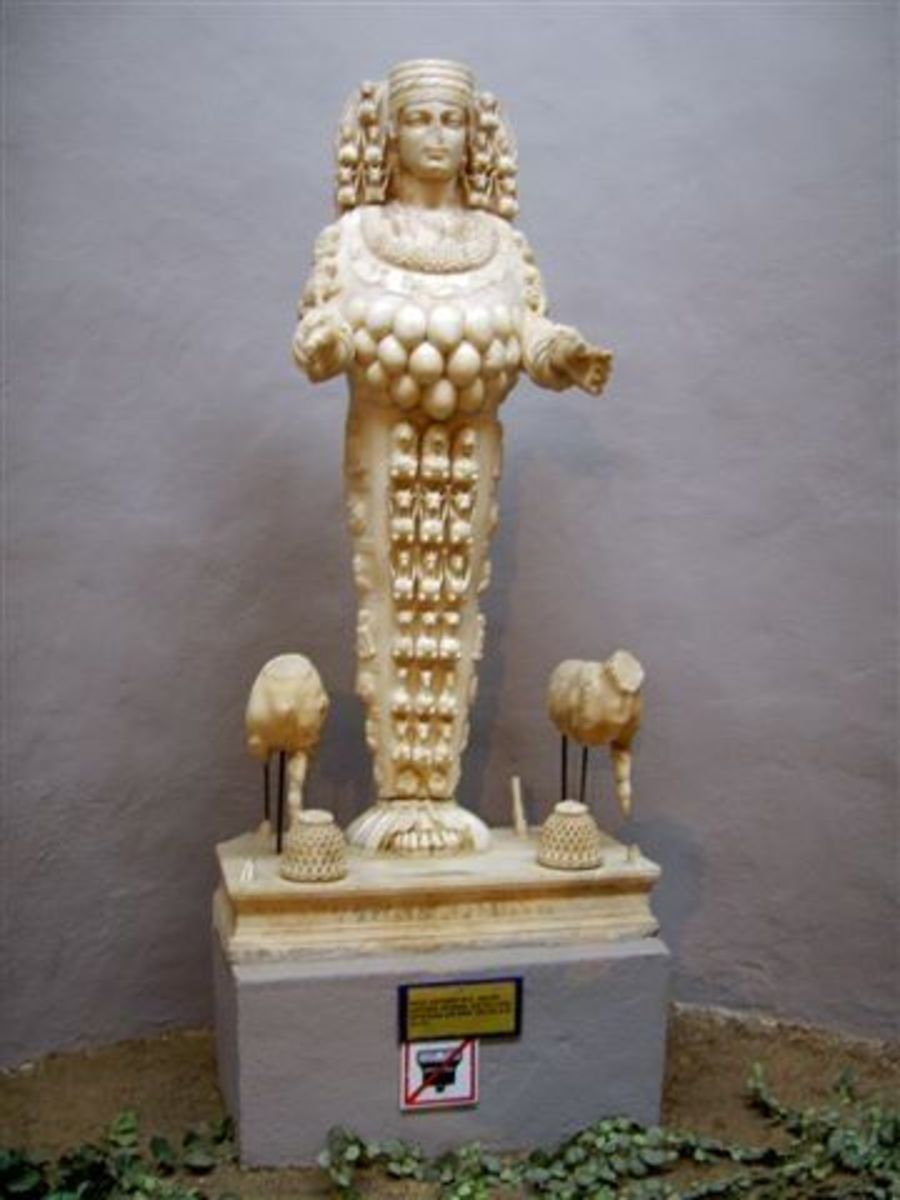 The Lady of Ephesus, whom the Greeks identified with Artemis. (Archeological Museum, Ephesus, Turkey)