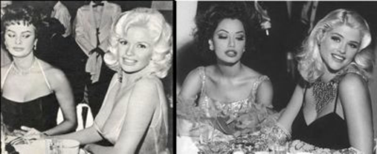 Left: Photo of Jayne Mansfield and Sophia Loren Right: Anna Nicole Smith posing as Jayne