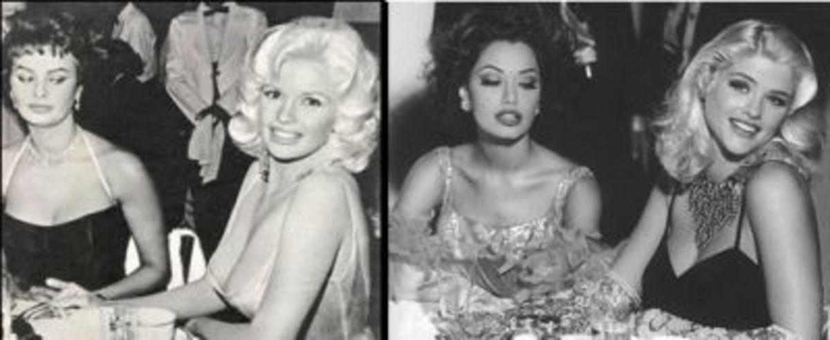 Left: Photo of Jayne Mansfield and Sophia Loren Right: Anna Nicole Smith posing as Jayne
