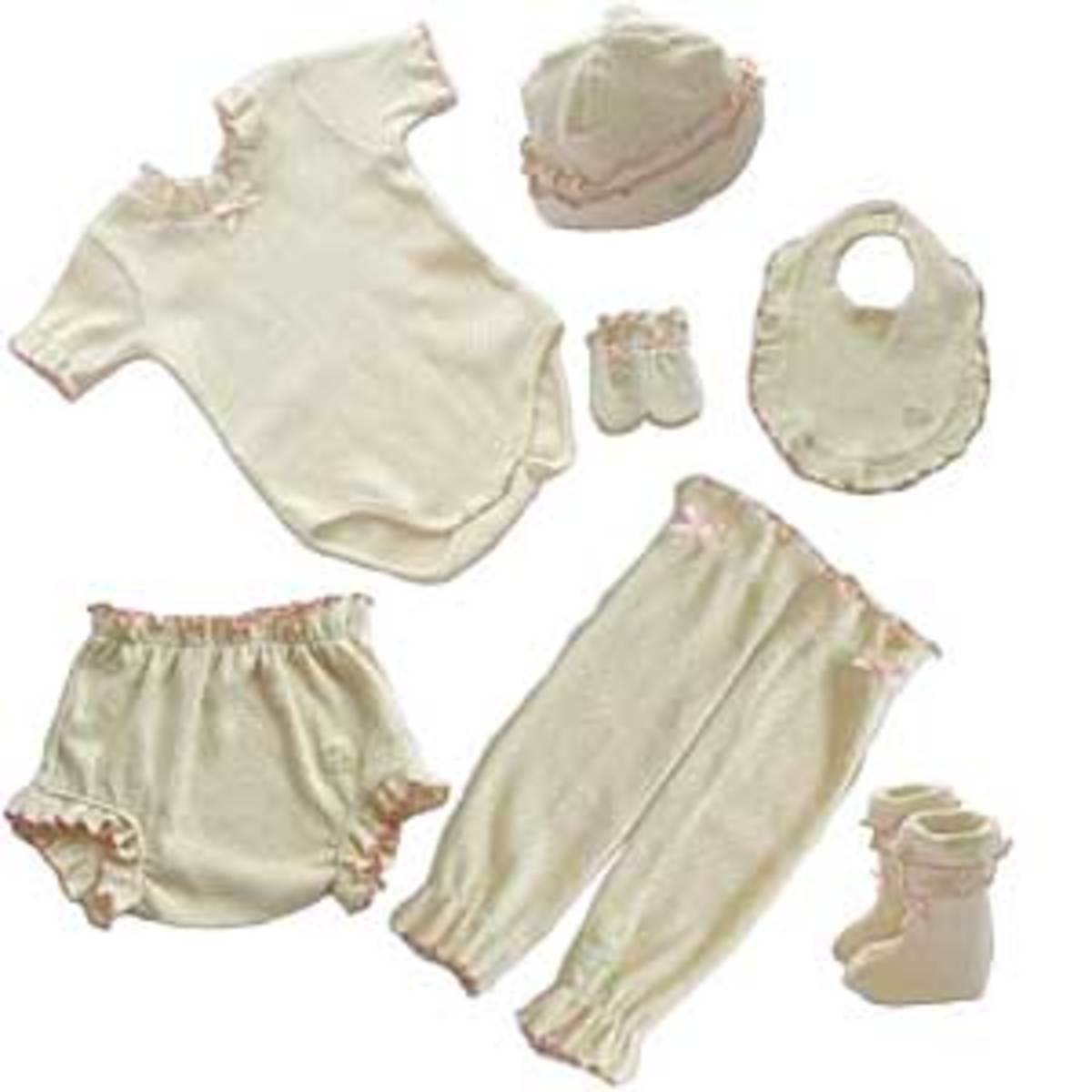 newborn organic cotton pink pointelle outfit found at Time Well Spent.