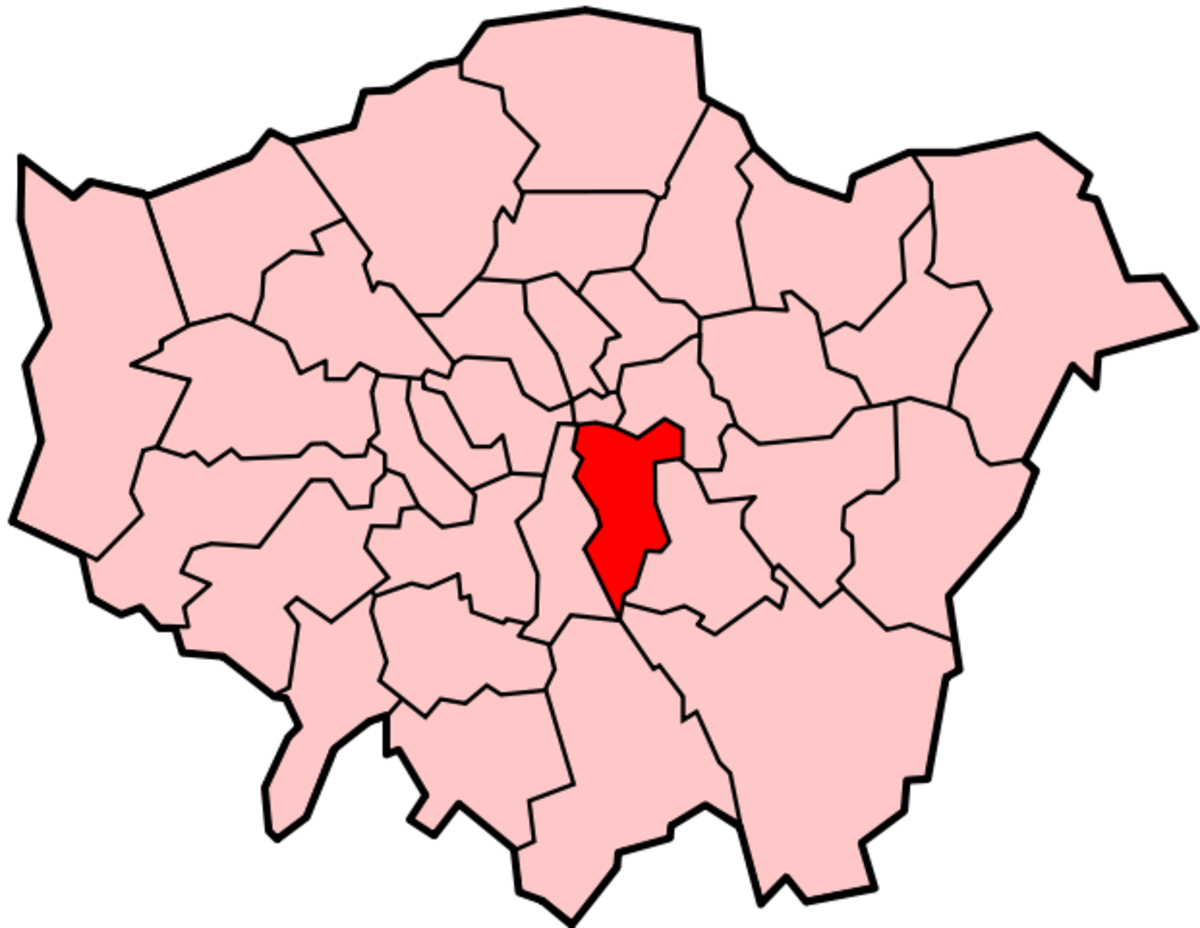 Map location of the London Borough of Southwark, shown (in red) within Greater London.