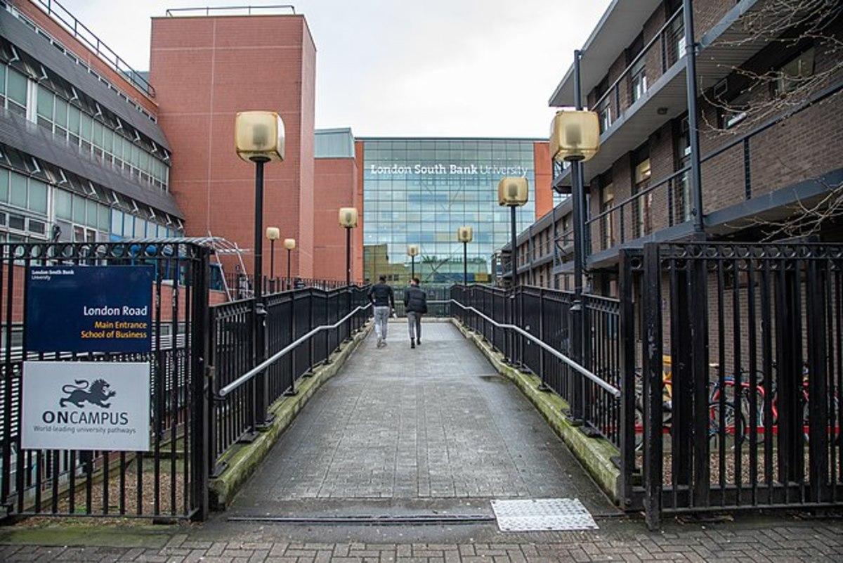 Outside the London Road entrance of London South Bank University.