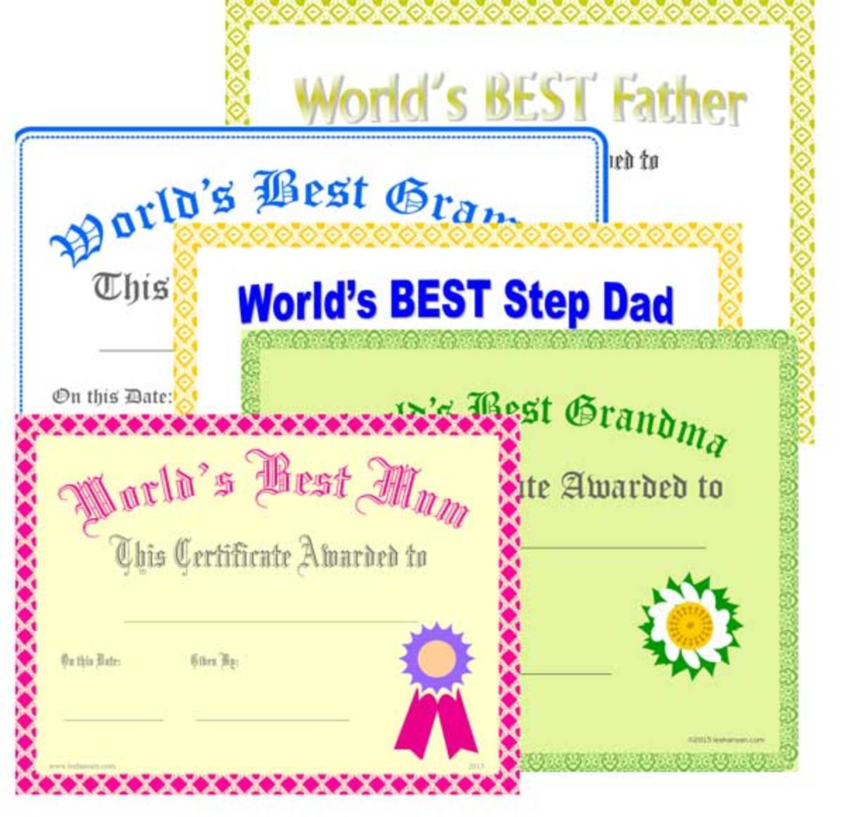 Best Mom, Dad, Grandfather, Grandma Printables