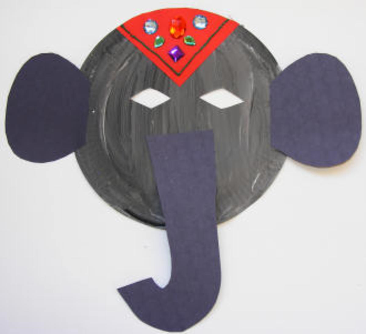 Paper plate elephant mask