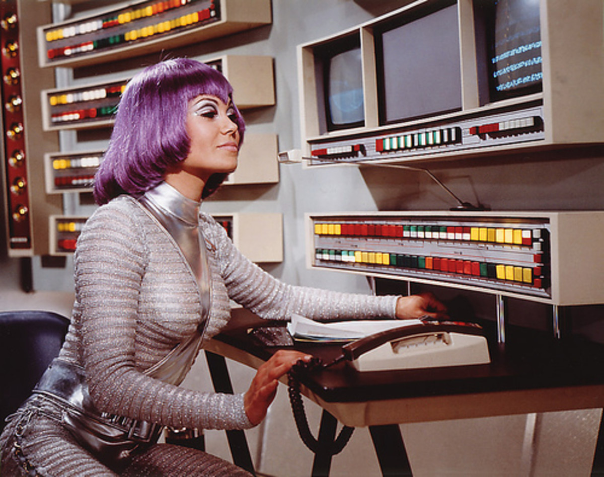 UFO TV Series, Girl in Silver Suit and Purple Bobbed Hair