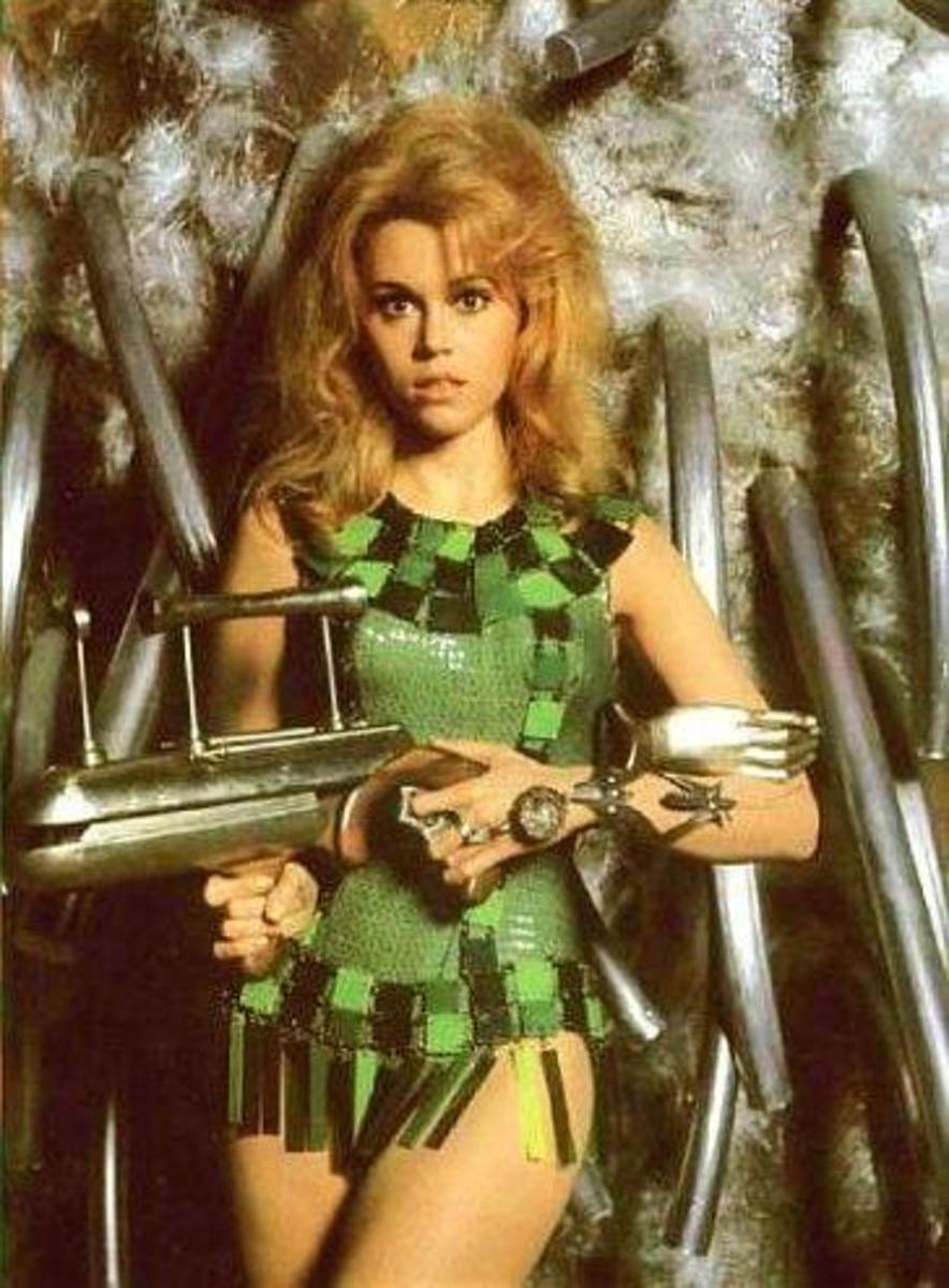 Jane Fonda is Barbarella in Green Mini-Dress