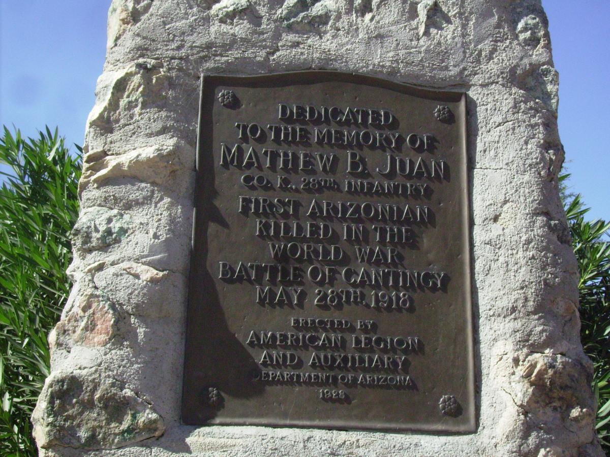 Inscription on Juan Monument
