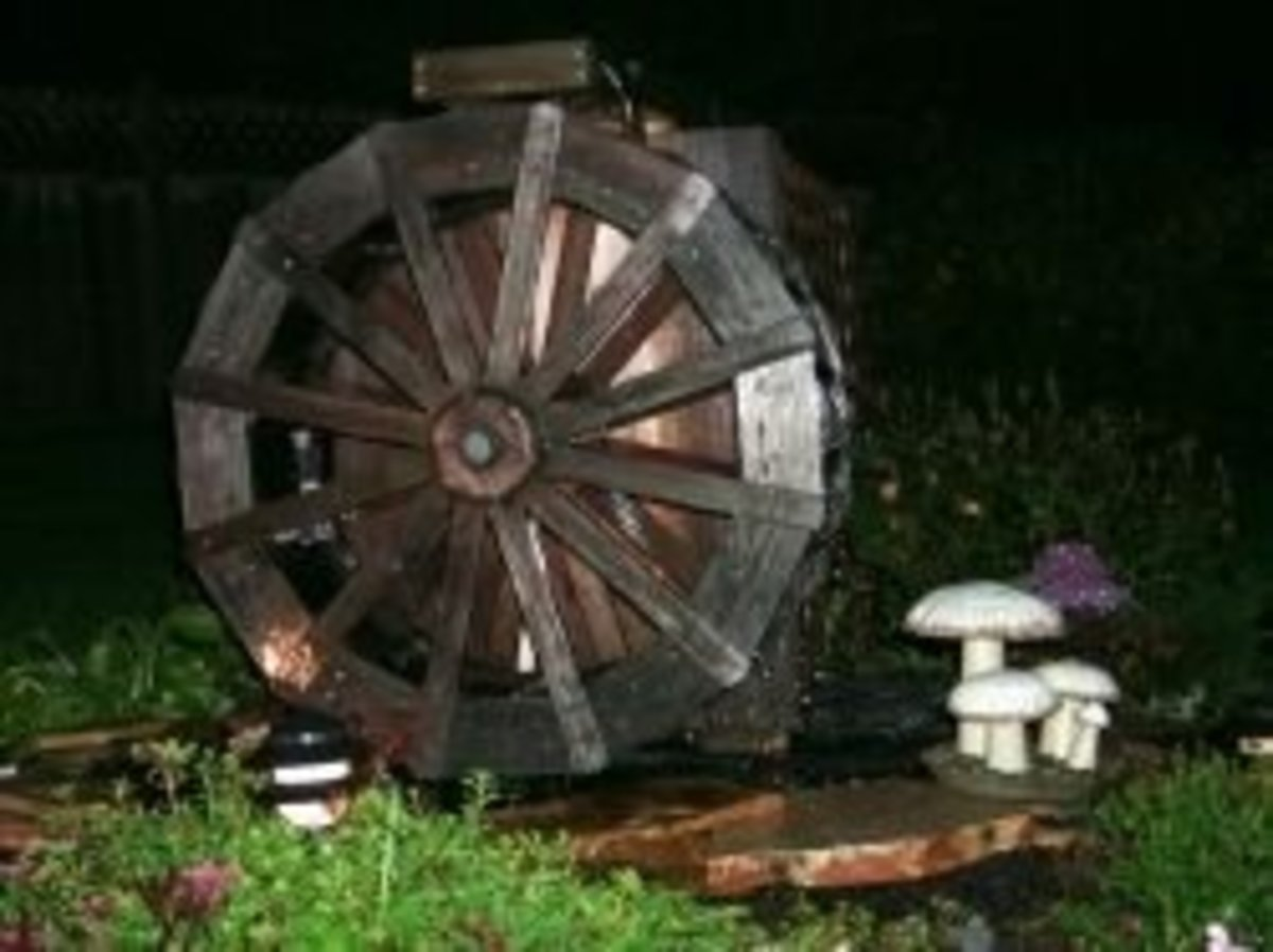 Waterwheel at night