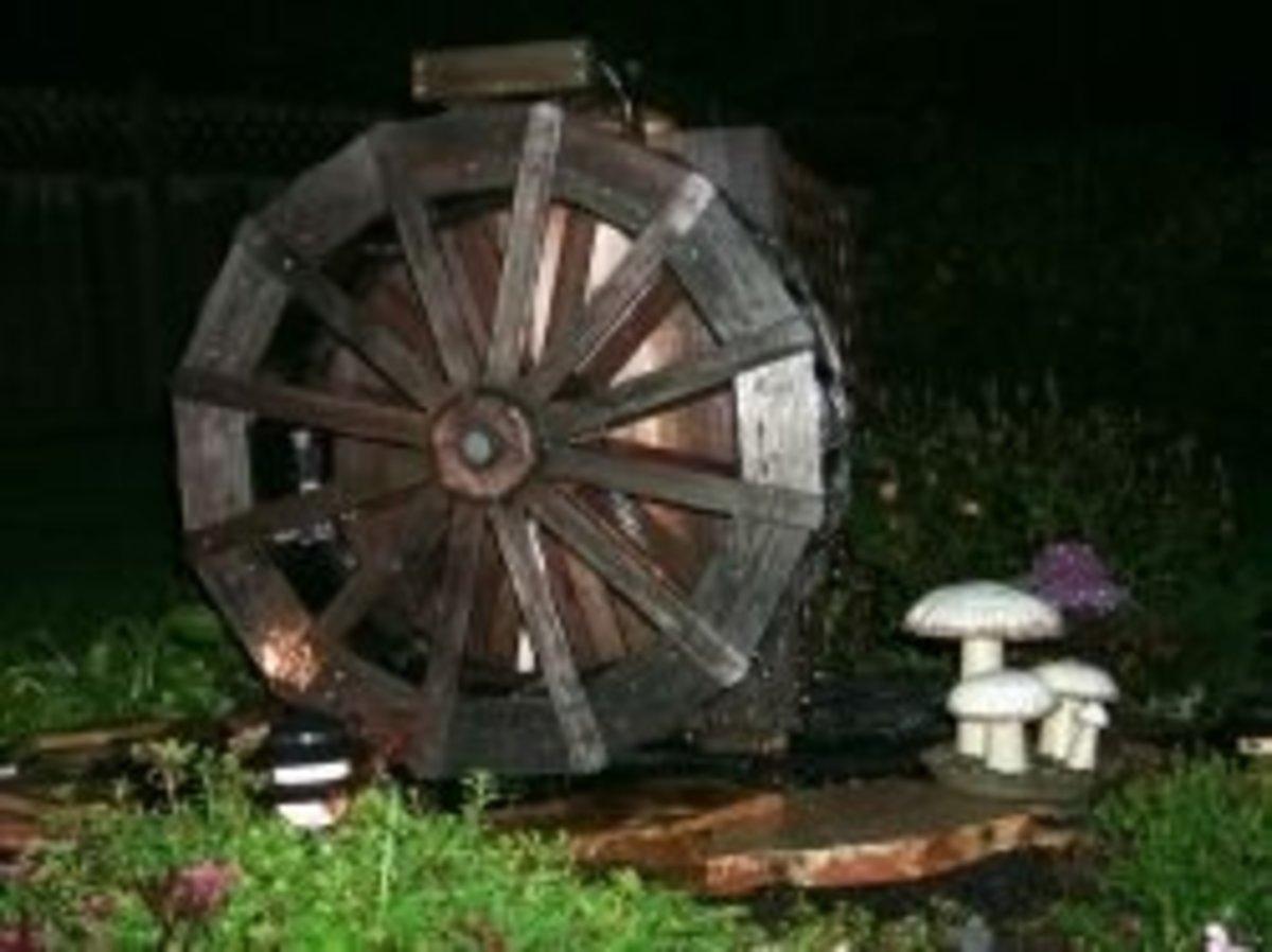 Waterwheel at night