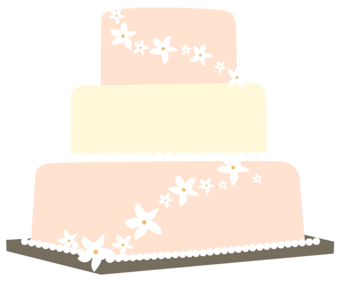 Peach wedding cake clip art
