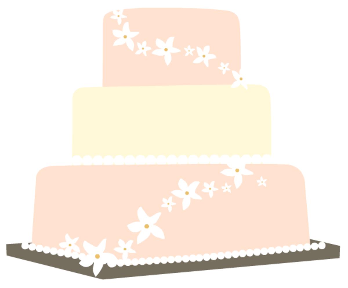 Peach wedding cake clip art