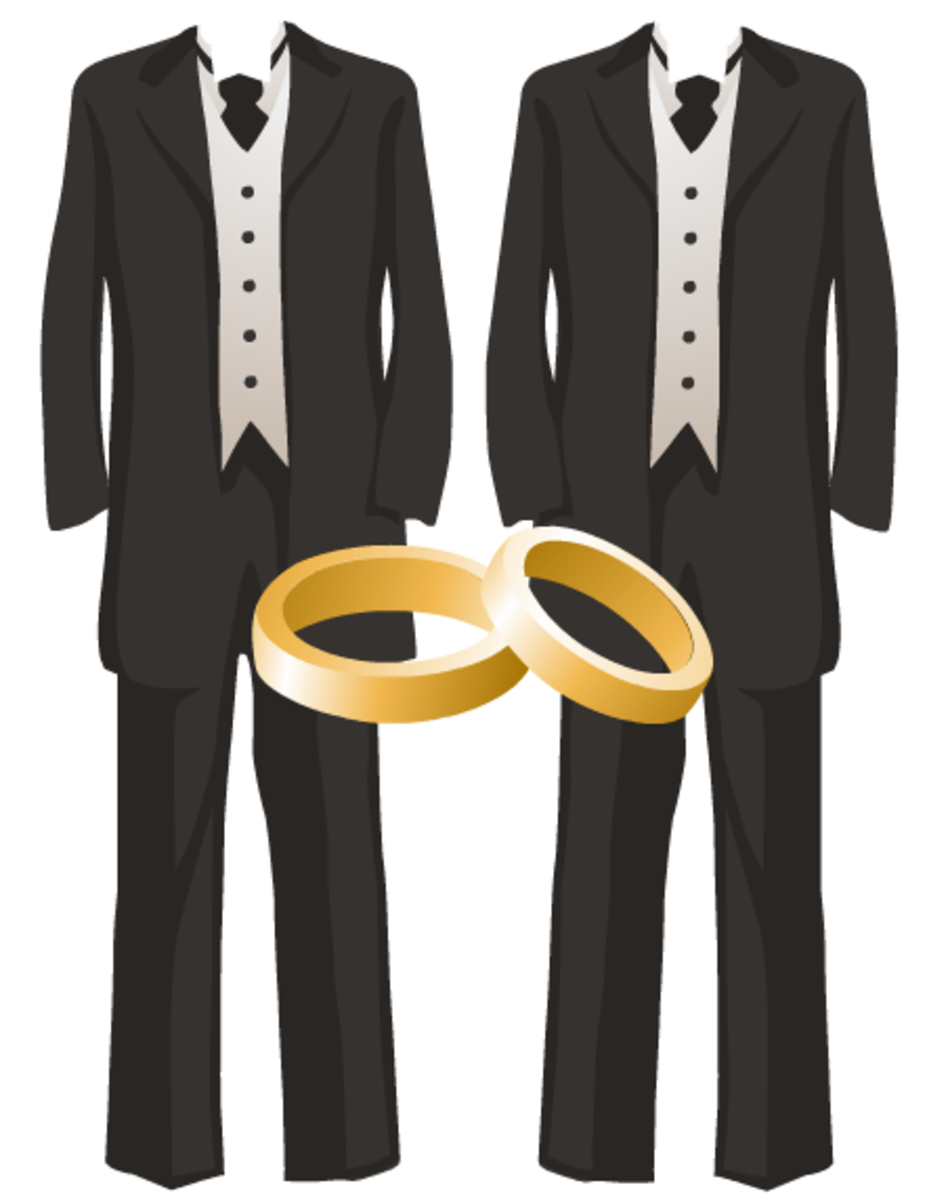 Gay wedding graphics: two tuxedos with gold wedding bands