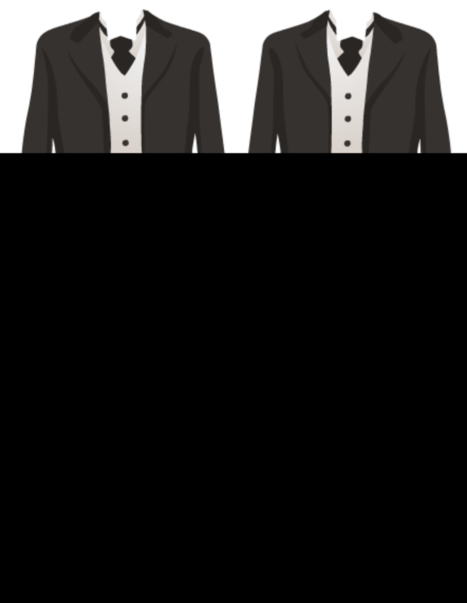 Gay wedding clipart: two tuxedos with platinum wedding bands