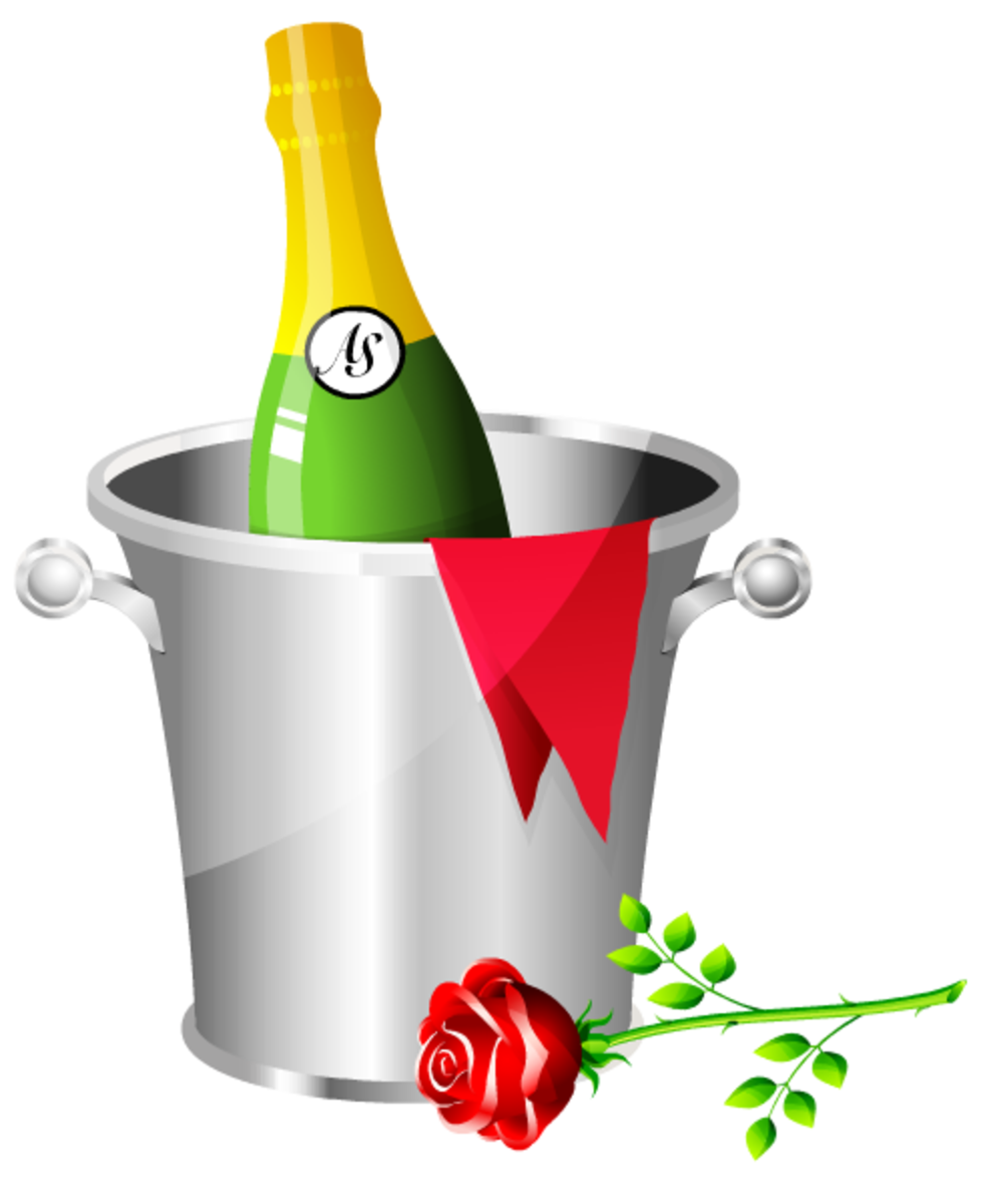 Champagne in an ice bucket and single red rose