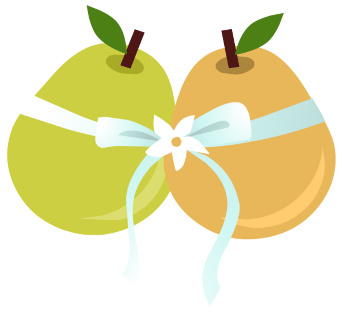Engagement clip art: two pears with ribbon and flowers