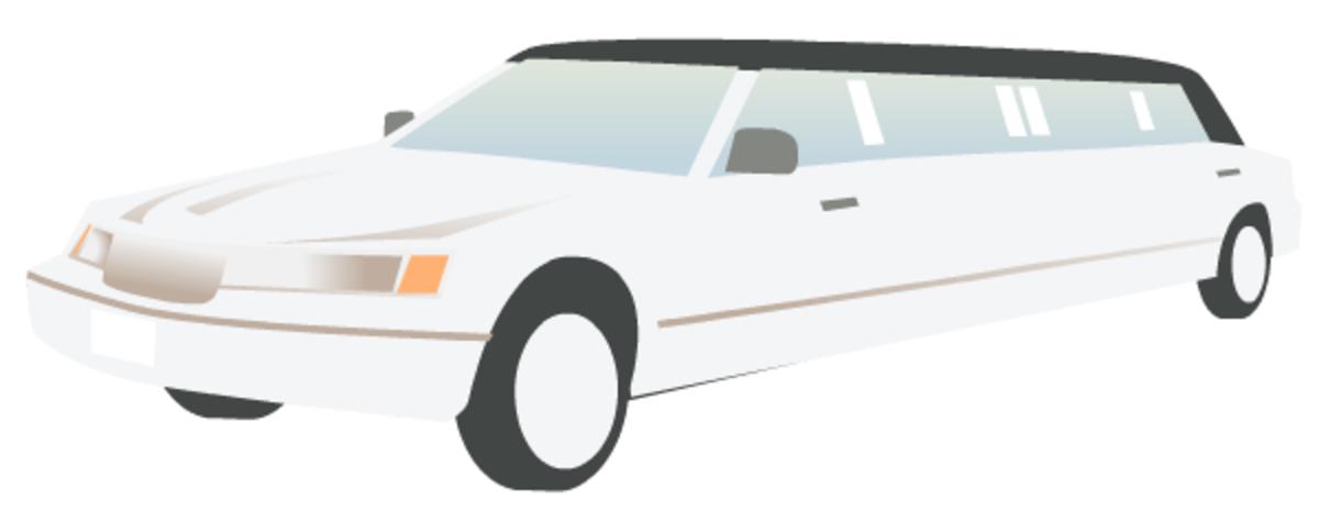 Wedding clip art: white stretch limousine