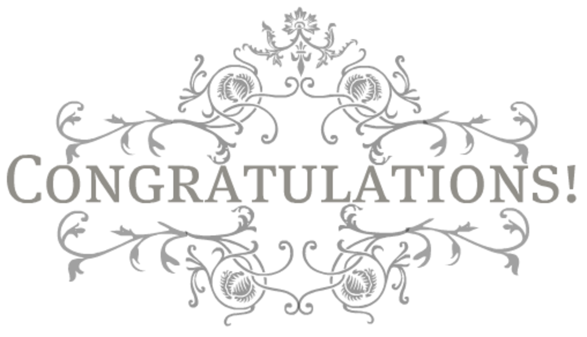 Congratulations platinum scrollwork floral clip art