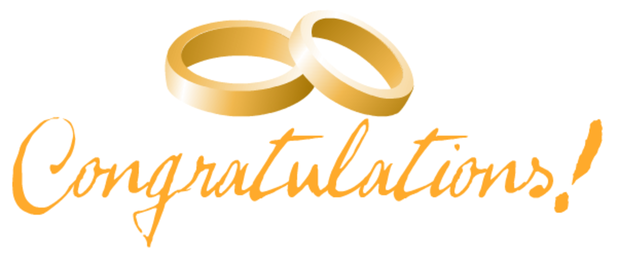 Free congratulations gold wedding bands clip art
