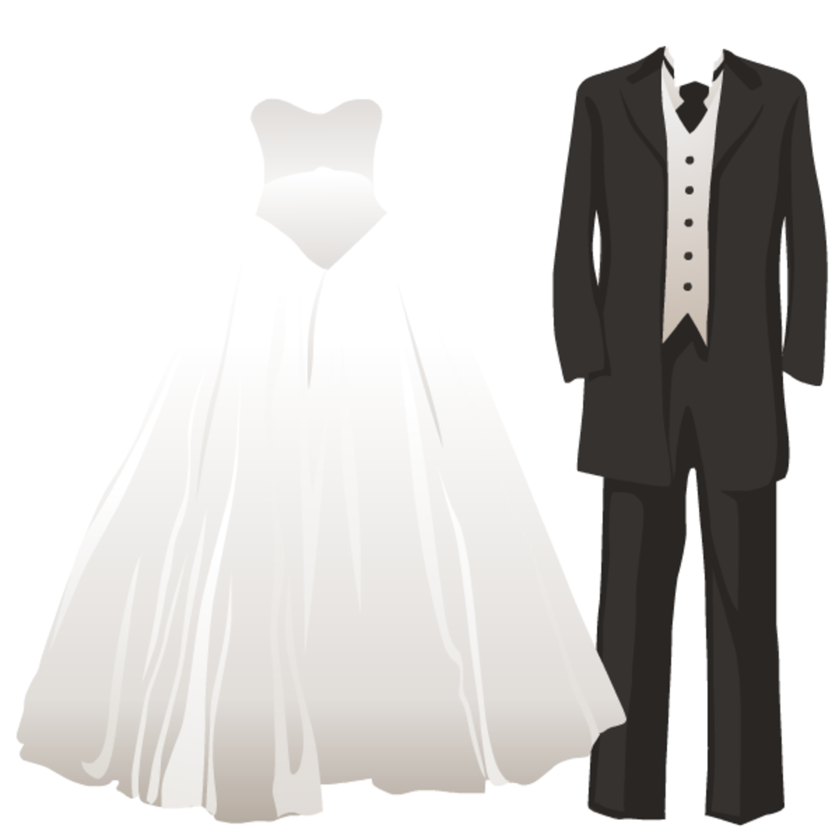 Bride and groom wedding dress and tuxedo wedding clipart