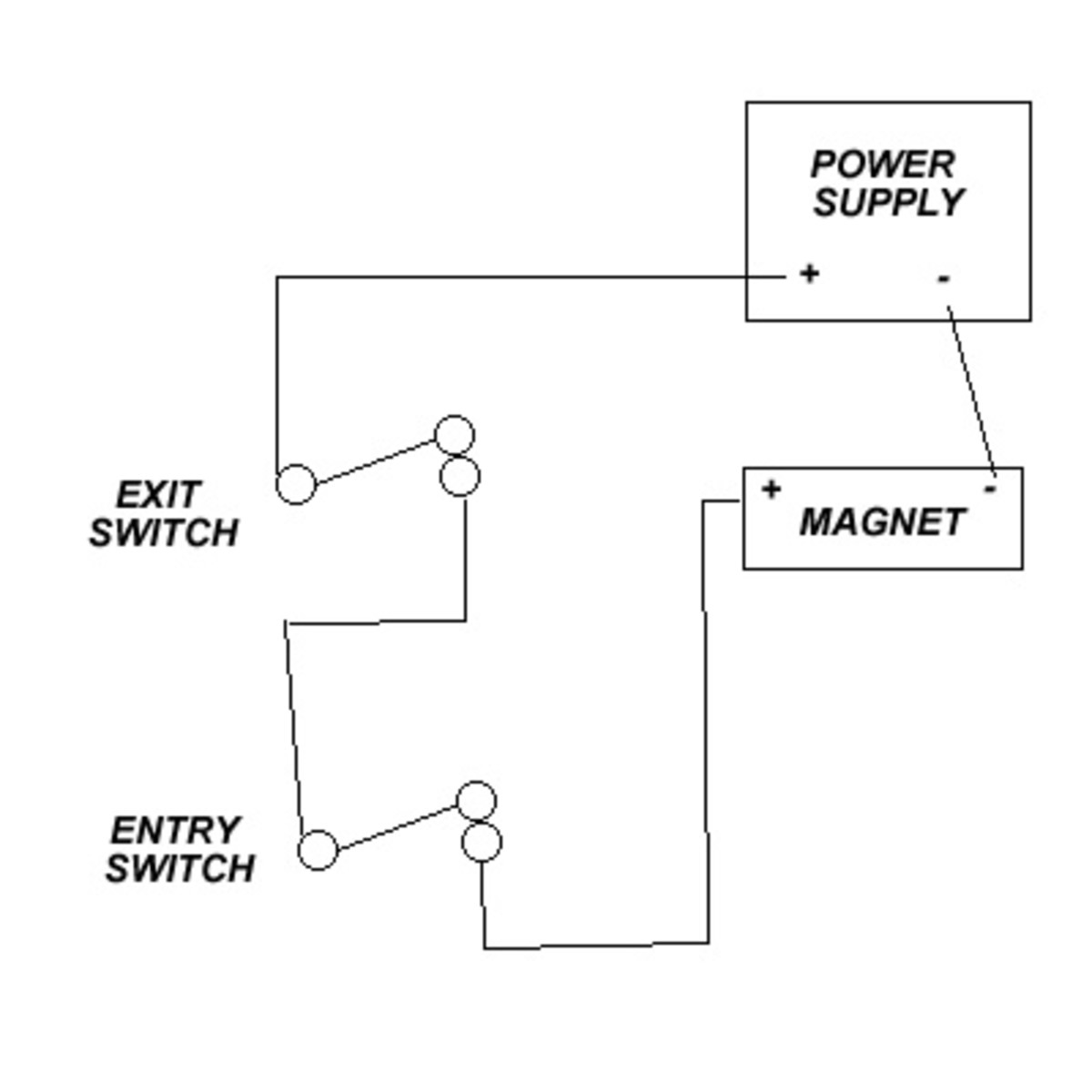 basic magnetic door lock system hubpages basic mag wiring diagram