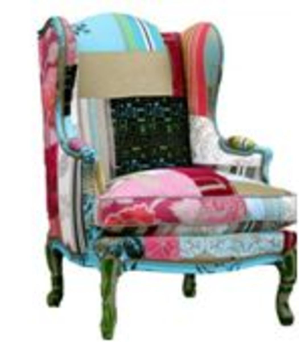 Chair 11  Beautiful Patchwork Design by Kelly Swallow.