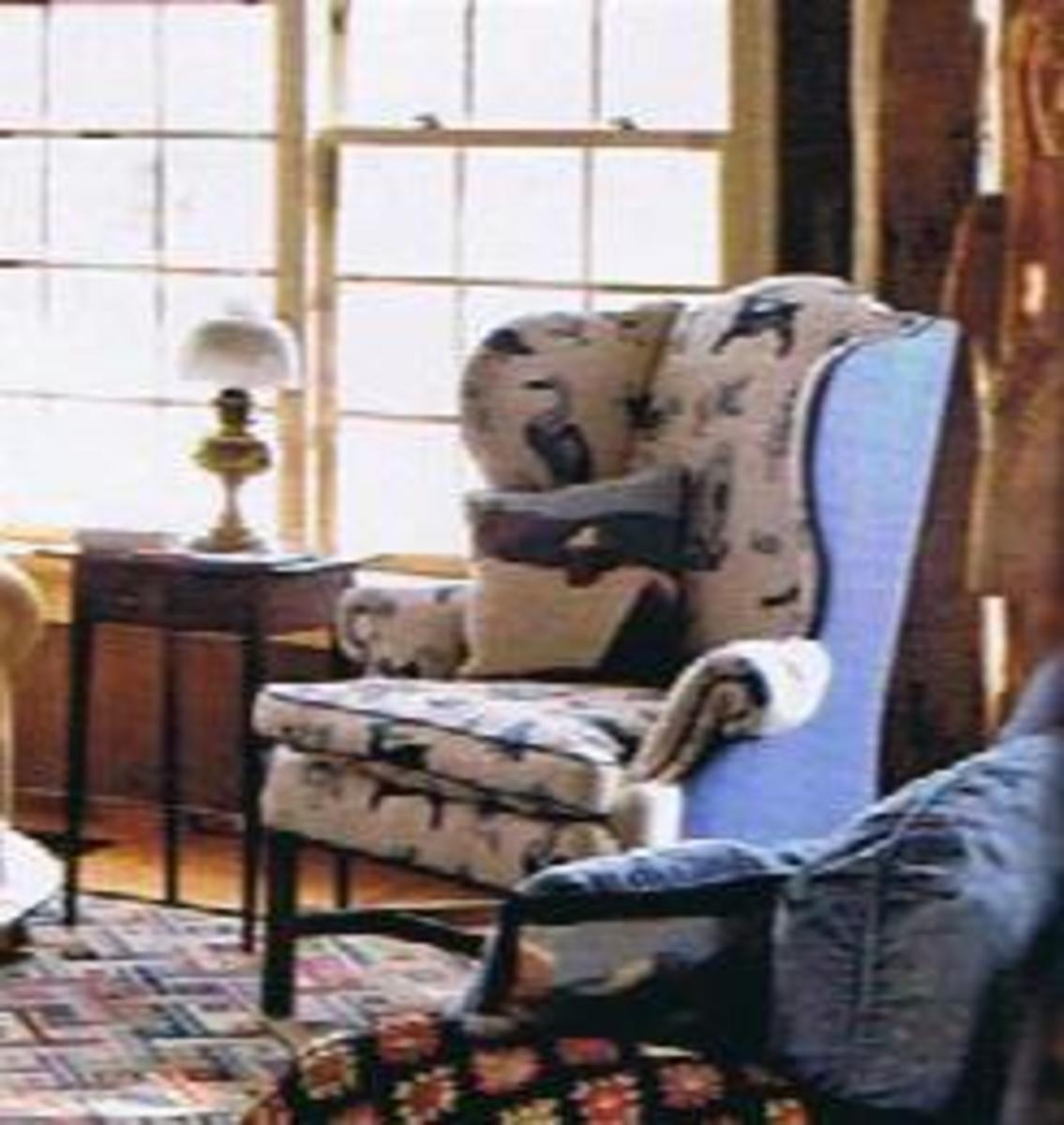 chair 1 this pretty chair has a blue and white print on front and solid chair upholstery fabric 2