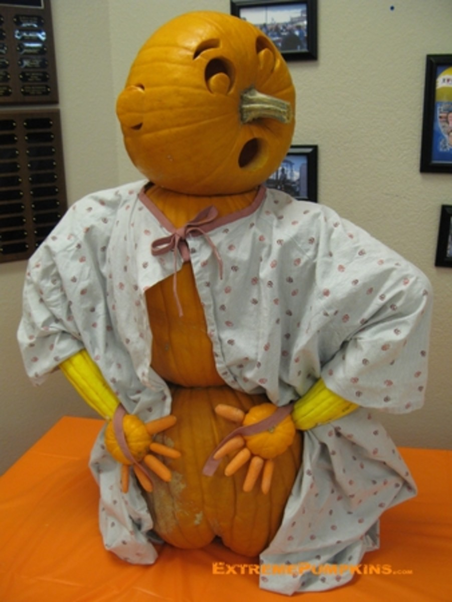 Hospital gown pumpkin, ExtremePumpkins.com Contest Submission