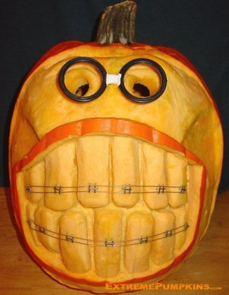 Nerdy pumpkin with braces, ExtremePumpkins.com Contest Submission