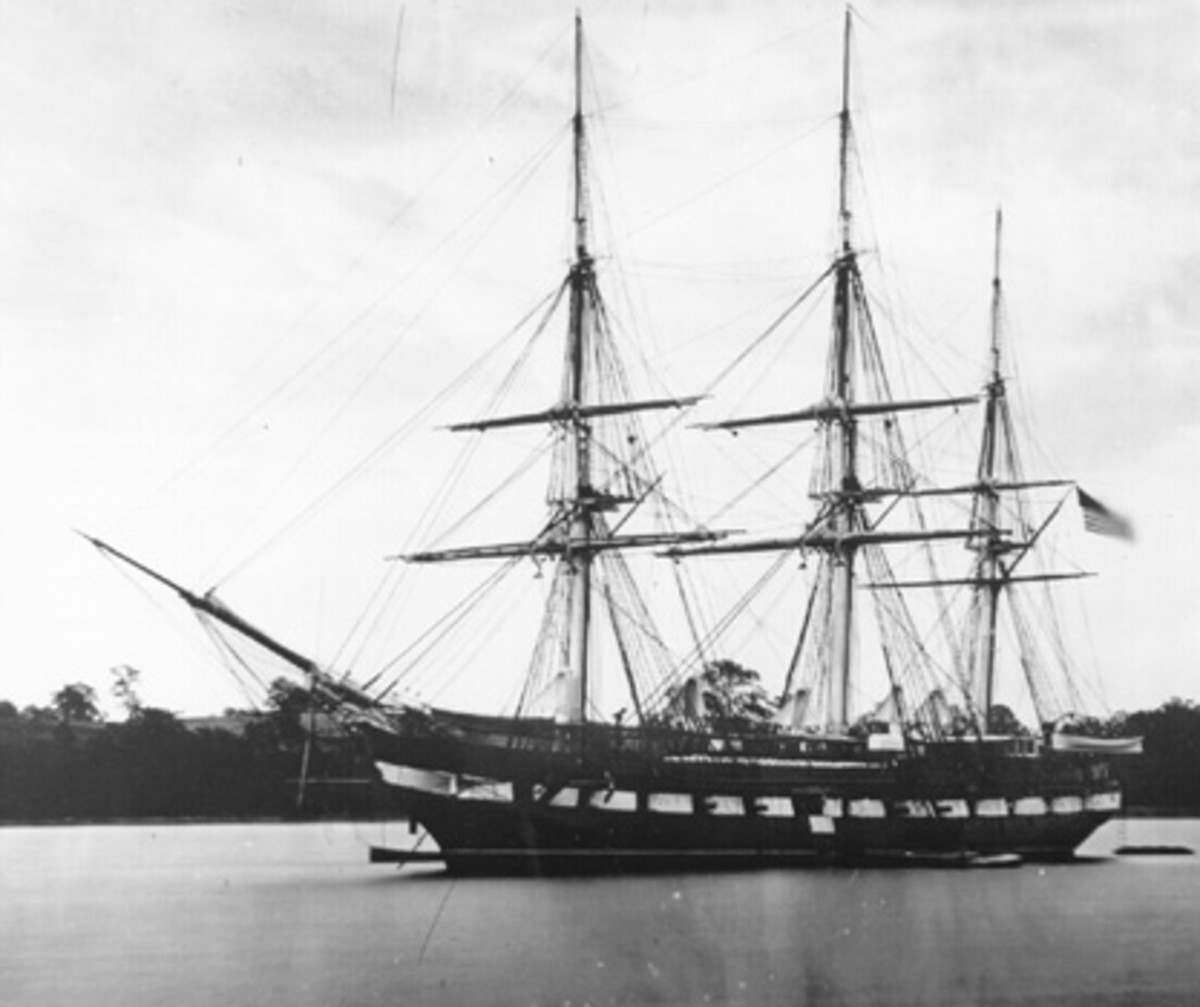 Tall sailing ships: USS Constitution sloop-of-war, circa 1854 I Credit: Public domain