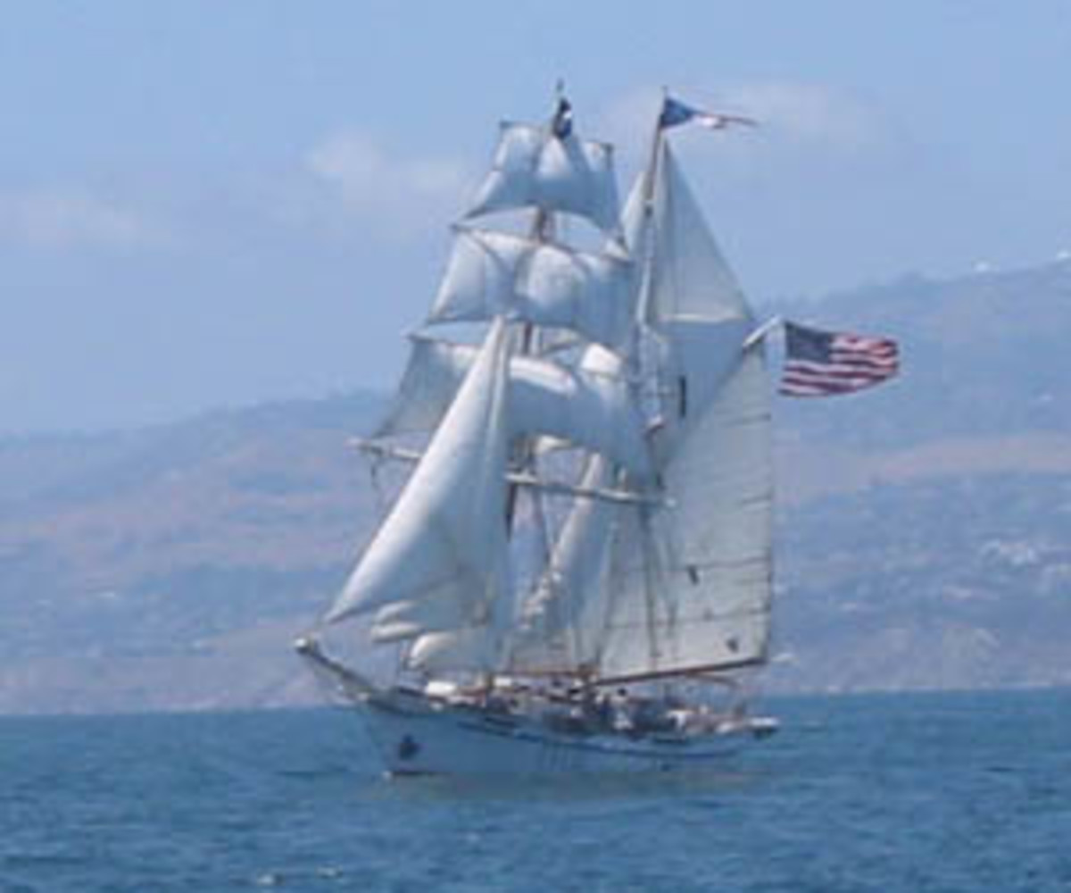 Tall sailing ships: The Irving Johnson brigantine off the coast of Southern California I Credit: GNU Free Documentation License